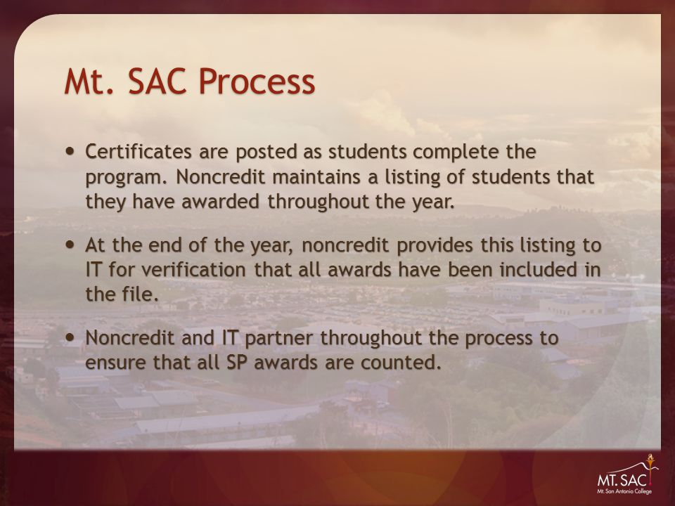 Mt. SAC Process Certificates are posted as students complete the program.