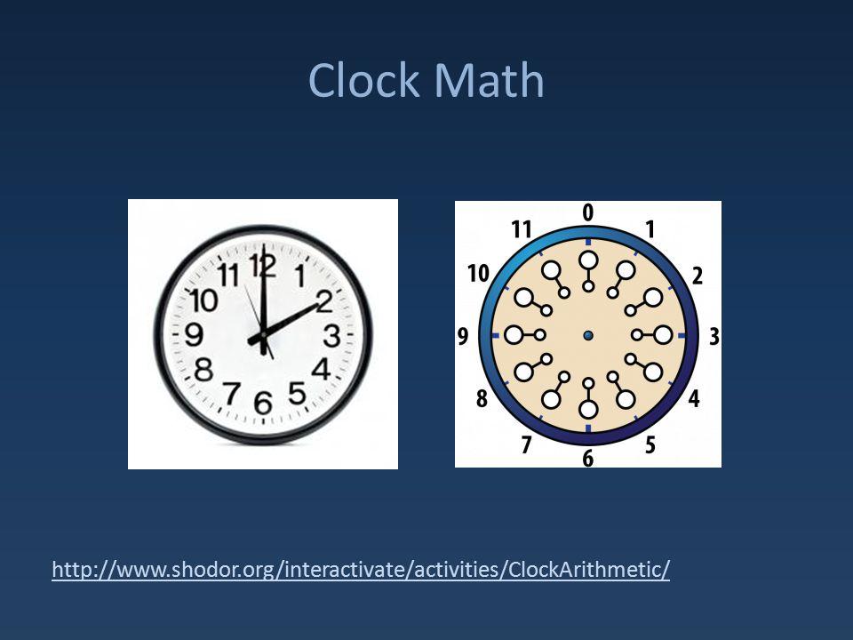 Clock Math http://www.shodor.org/interactivate/activities/ClockArithmetic/