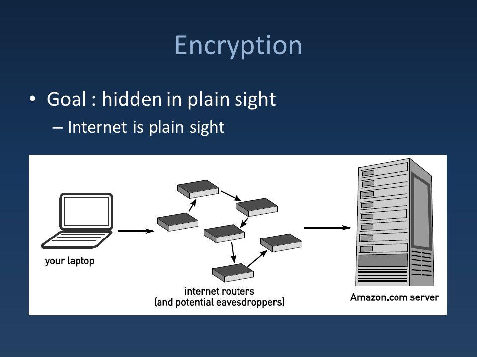 Encryption Goal : hidden in plain sight – Internet is plain sight
