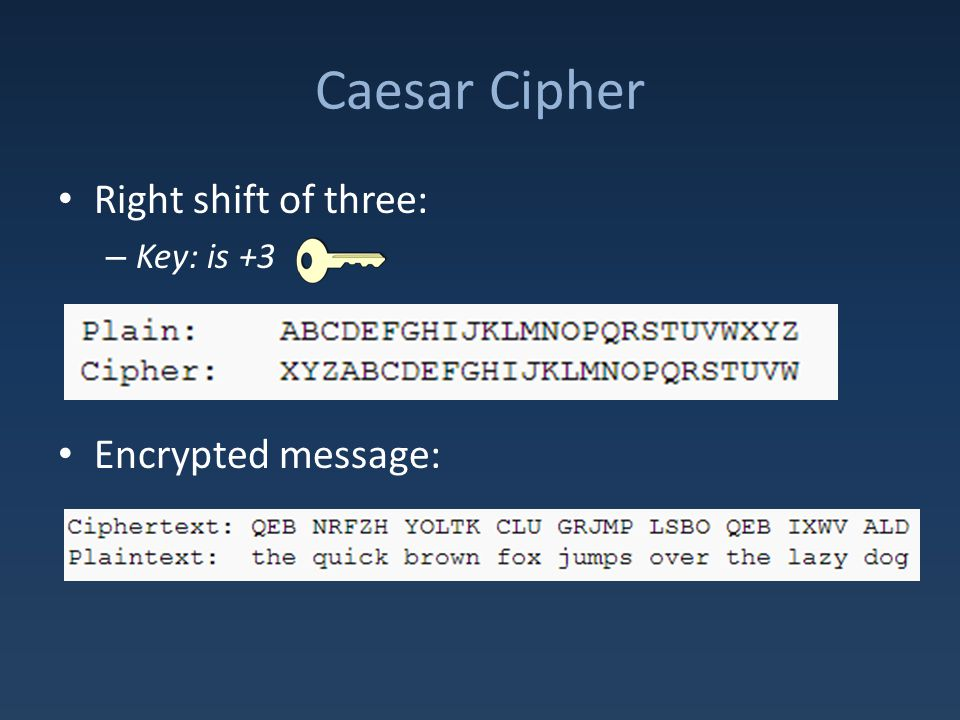 Caesar Cipher Right shift of three: – Key: is +3 Encrypted message: