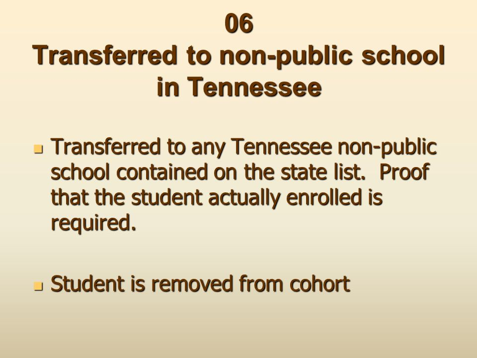 06 Transferred to non-public school in Tennessee Transferred to any Tennessee non-public school contained on the state list. Proof that the student ac