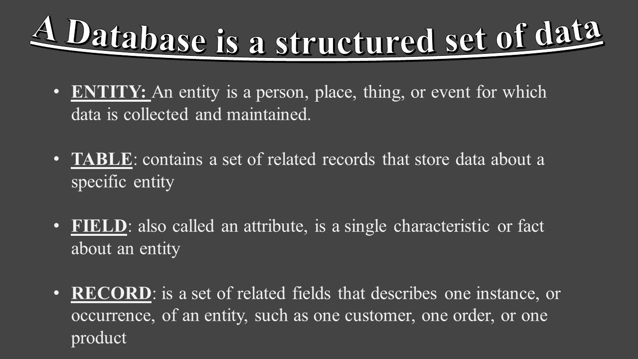 ENTITY: An entity is a person, place, thing, or event for which data is collected and maintained. TABLE: contains a set of related records that store