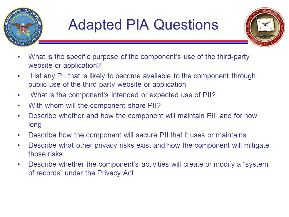 Adapted PIA Questions What is the specific purpose of the component's use of the third-party website or application.