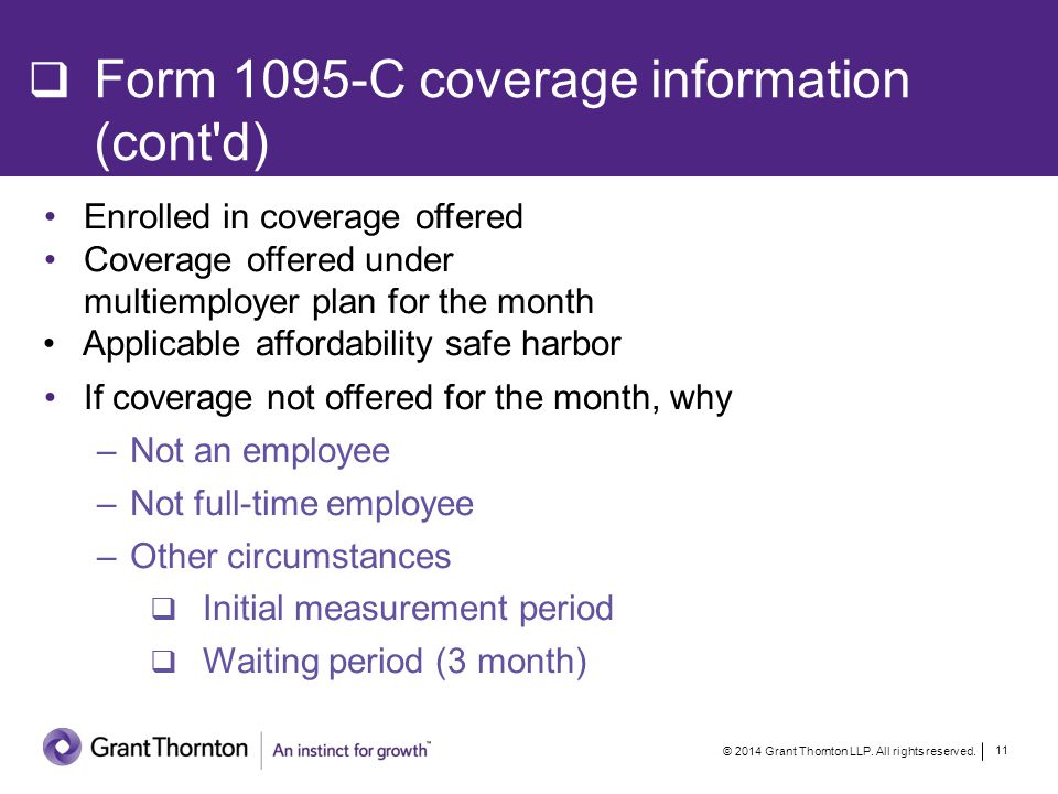 Contents of Form 1095-C Offer of Coverage All 12 months.