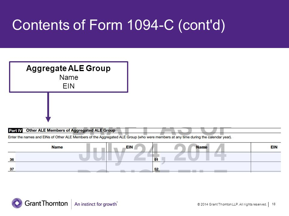 Contents of Form 1094-C (cont d) Aggregate ALE Group Name EIN © 2014 Grant Thornton LLP.