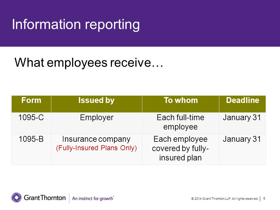 Information reporting © 2014 Grant Thornton LLP. All rights reserved.