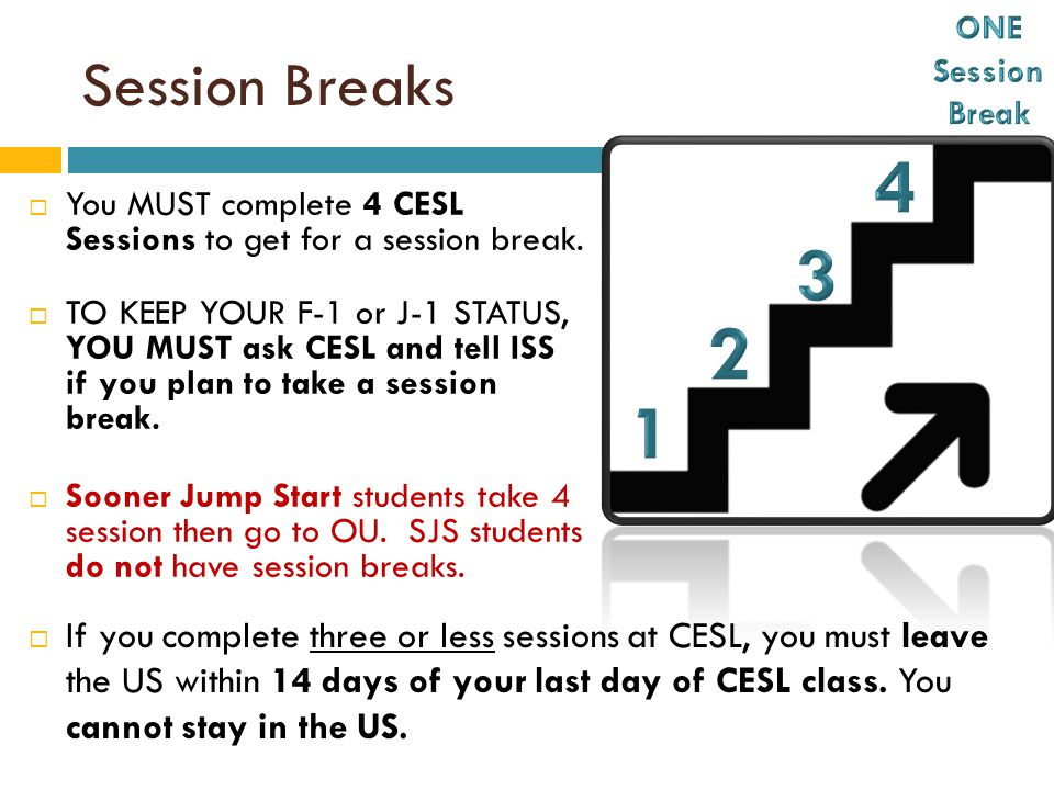 Session Breaks  You MUST complete 4 CESL Sessions to get for a session break.