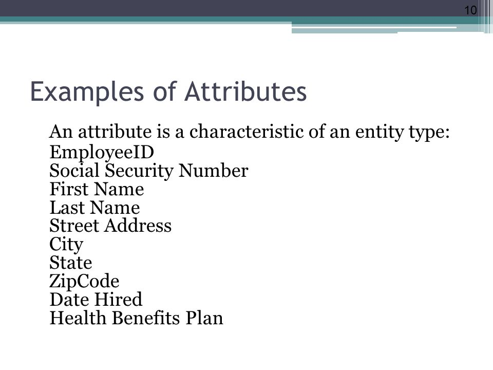 Examples of Attributes An attribute is a characteristic of an entity type: EmployeeID Social Security Number First Name Last Name Street Address City