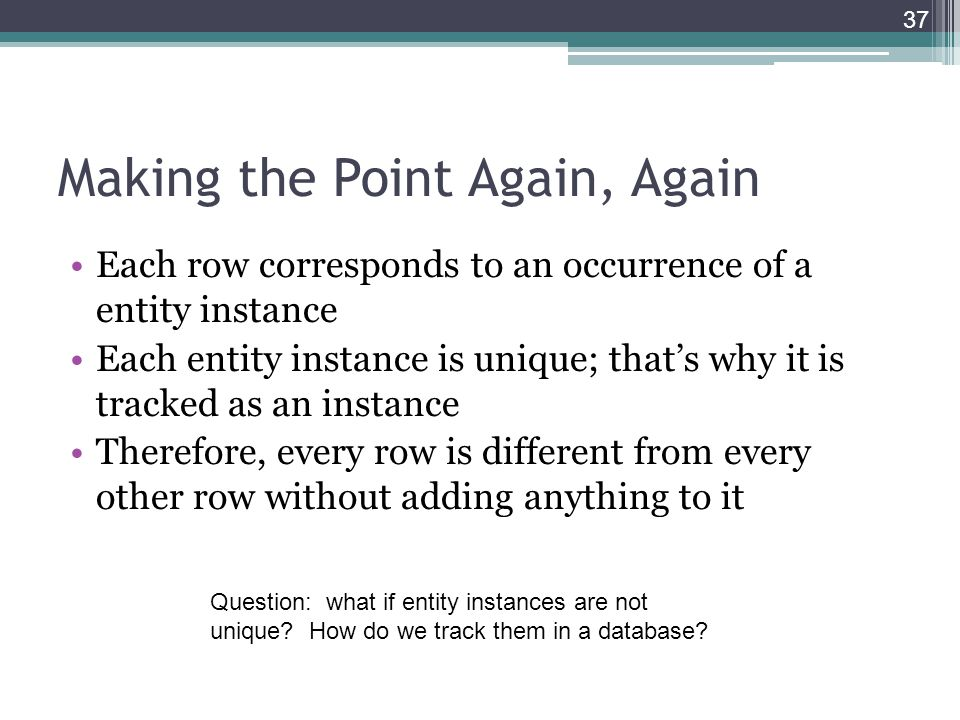 Making the Point Again, Again Each row corresponds to an occurrence of a entity instance Each entity instance is unique; that's why it is tracked as an instance Therefore, every row is different from every other row without adding anything to it 37 Question: what if entity instances are not unique.