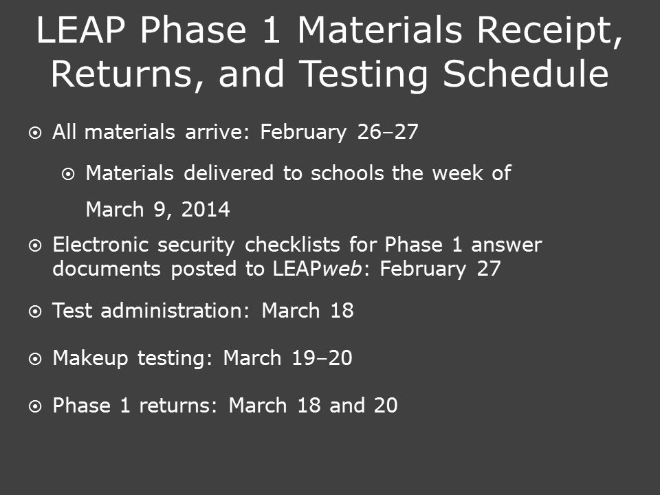 LEAP Phase 1 Materials Receipt, Returns, and Testing Schedule  All materials arrive: February 26–27  Materials delivered to schools the week of Marc