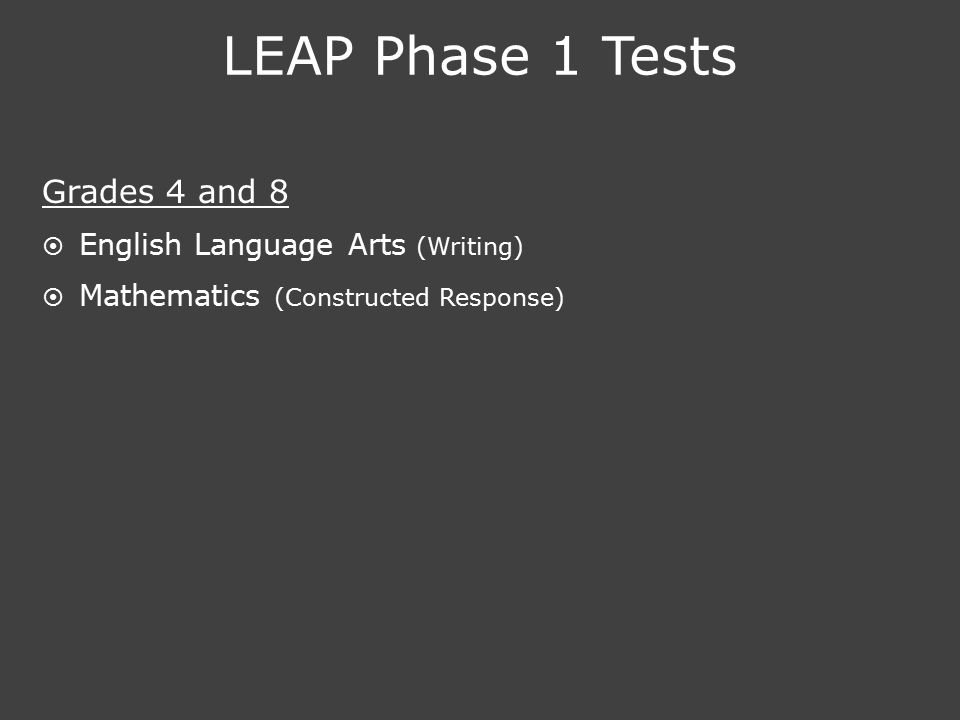 LEAP Phase 1 Tests Grades 4 and 8  English Language Arts (Writing)  Mathematics (Constructed Response)