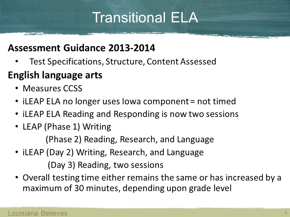 Transitional ELA 6 Louisiana Believes Assessment Guidance 2013-2014 Test Specifications, Structure, Content Assessed English language arts Measures CC
