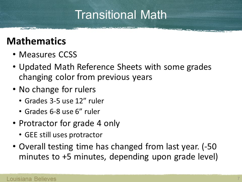 Transitional Math 7 Louisiana Believes Mathematics Measures CCSS Updated Math Reference Sheets with some grades changing color from previous years No