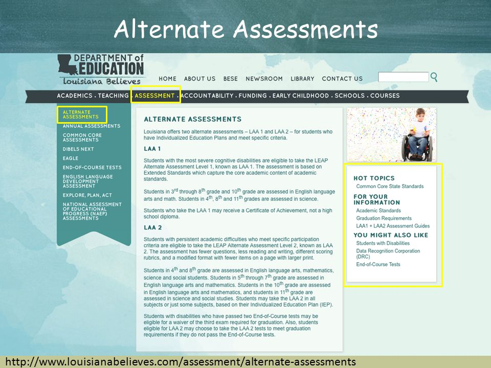 Alternate Assessments http://www.louisianabelieves.com/assessment/alternate-assessments