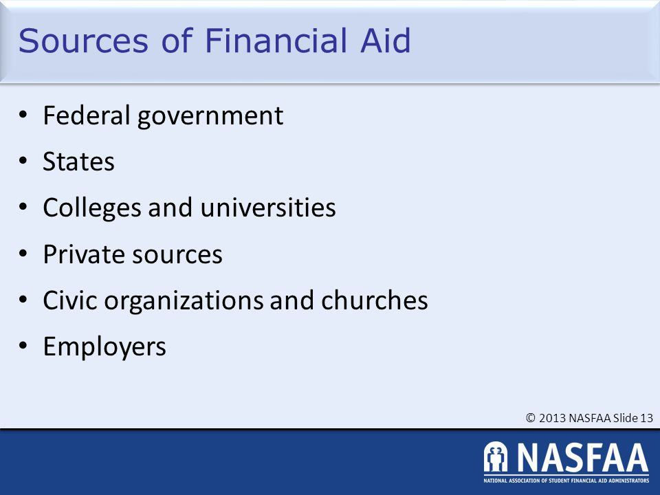 © 2013 NASFAA Slide 13 Sources of Financial Aid Federal government States Colleges and universities Private sources Civic organizations and churches E