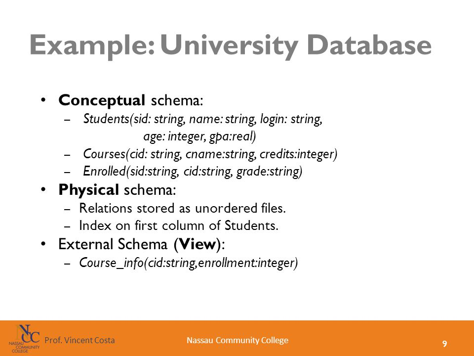 9 Nassau Community CollegeProf. Vincent Costa Example: University Database Conceptual schema: – Students(sid: string, name: string, login: string, age