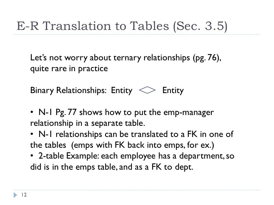 E-R Translation to Tables (Sec. 3.5) 12 Let's not worry about ternary relationships (pg. 76), quite rare in practice Binary Relationships: Entity Enti