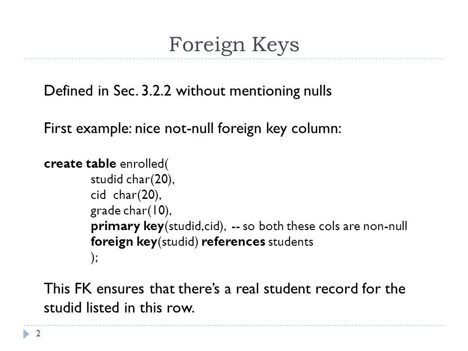 E-R Translation to Tables (Sec.