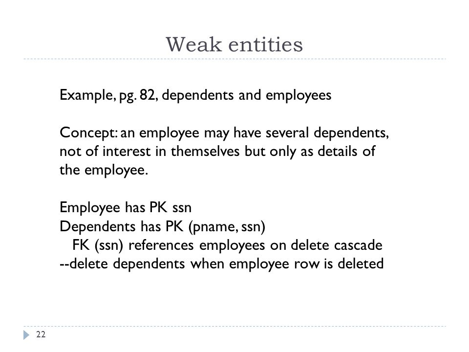 Weak entities 22 Example, pg.