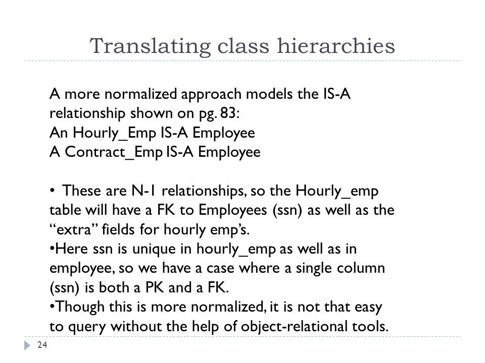 Translating class hierarchies 24 A more normalized approach models the IS-A relationship shown on pg. 83: An Hourly_Emp IS-A Employee A Contract_Emp I