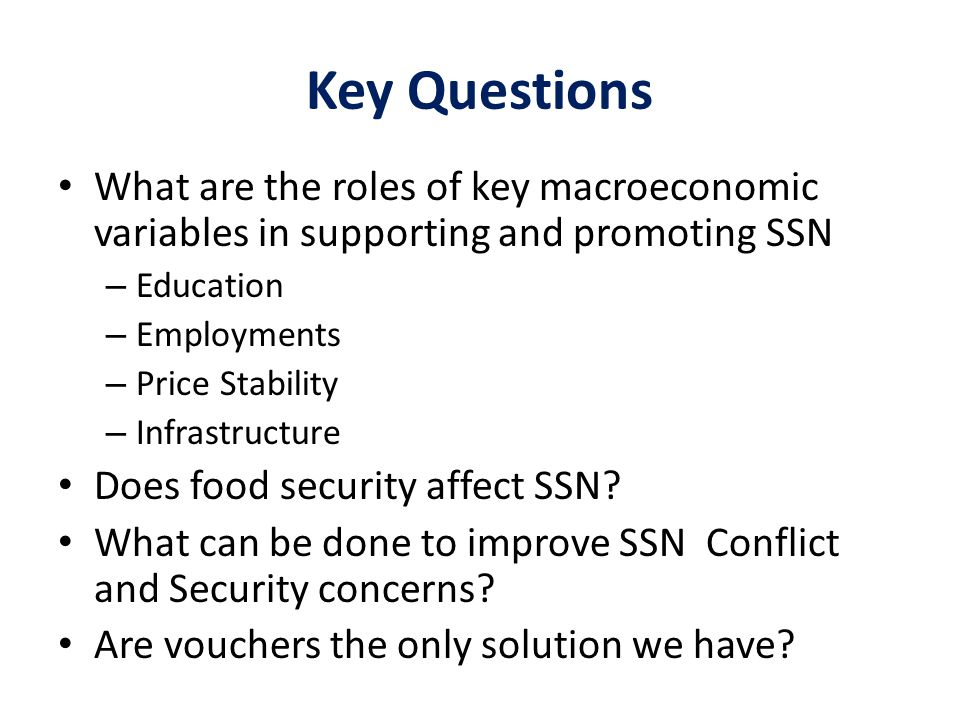 Key Questions What are the roles of key macroeconomic variables in supporting and promoting SSN – Education – Employments – Price Stability – Infrastr