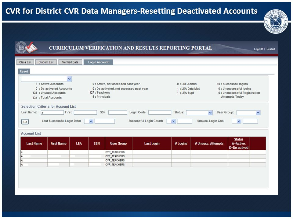 CVR for District CVR Data Managers-Resetting Deactivated Accounts