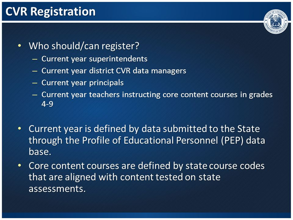 CVR Registration – How To (cont.) Once you have successfully completed your registration, you will be able to continue in to the portal.