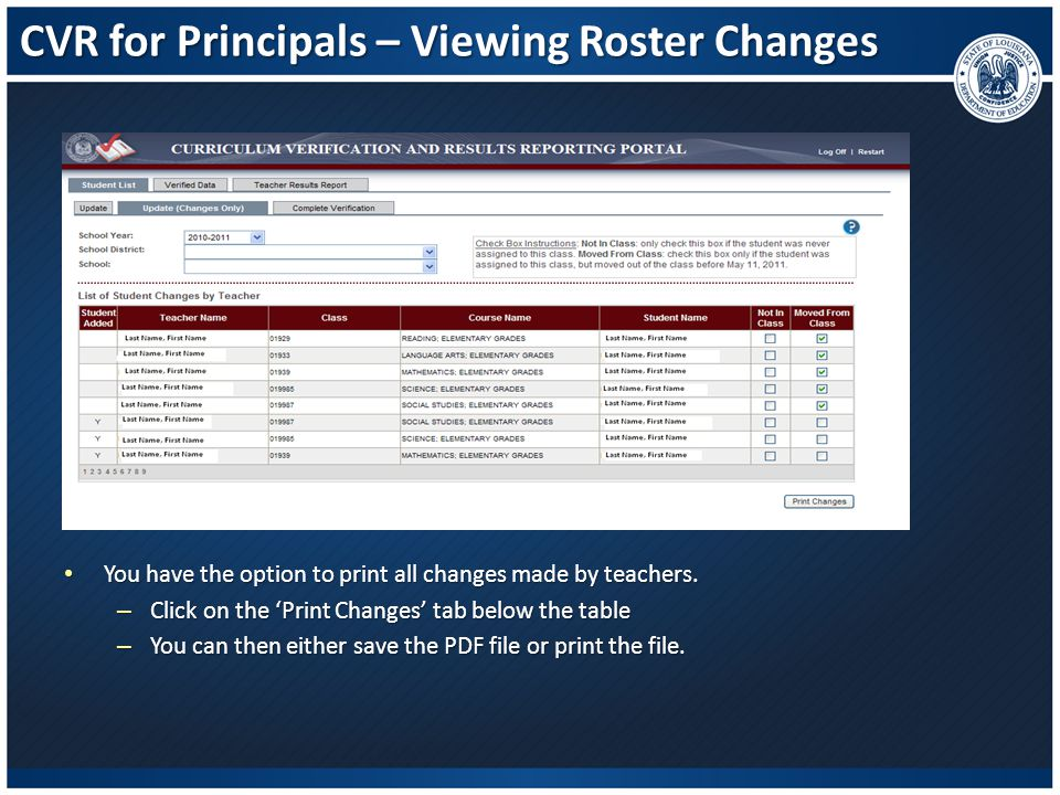 CVR for Principals – Viewing Roster Changes You have the option to print all changes made by teachers. You have the option to print all changes made b