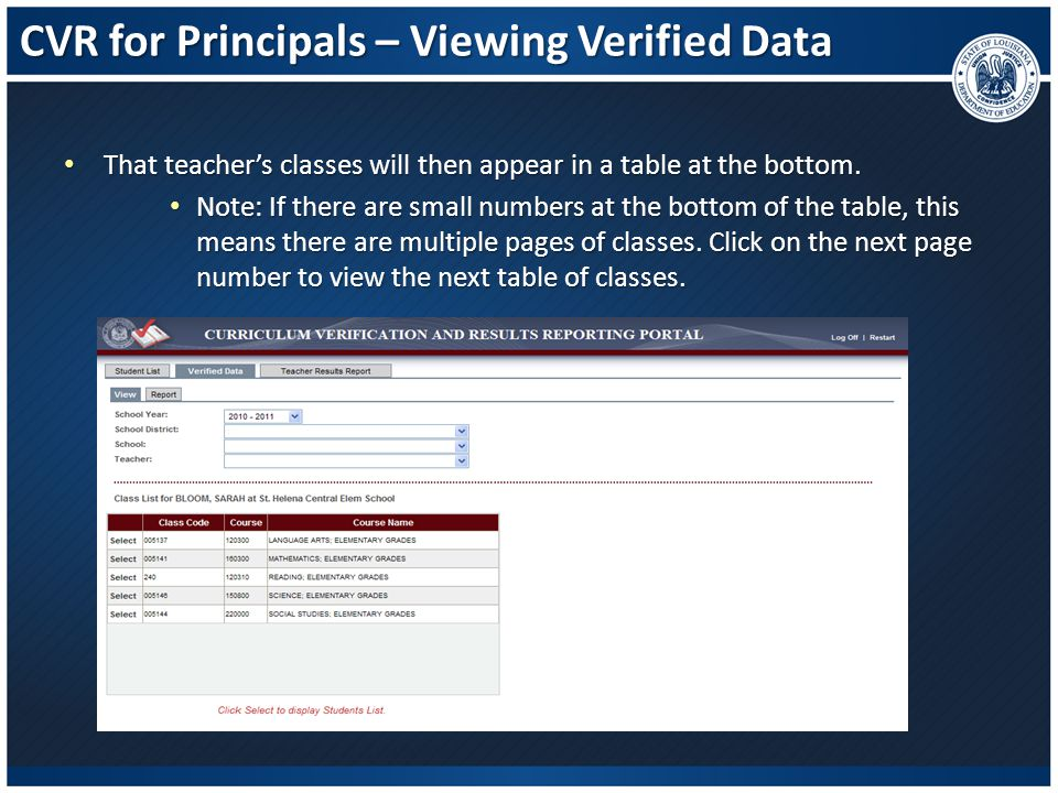 CVR for Principals – Viewing Verified Data That teacher's classes will then appear in a table at the bottom. That teacher's classes will then appear i