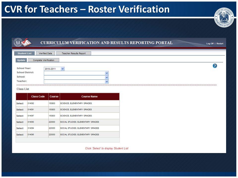 CVR for Teachers – Roster Verification