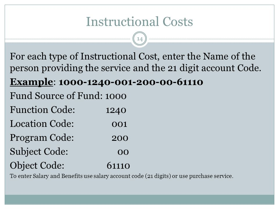 Instructional Costs For each type of Instructional Cost, enter the Name of the person providing the service and the 21 digit account Code.