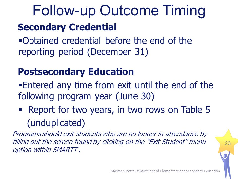 Massachusetts Department of Elementary and Secondary Education 23 Follow-up Outcome Timing Secondary Credential  Obtained credential before the end of the reporting period (December 31) Postsecondary Education  Entered any time from exit until the end of the following program year (June 30)  Report for two years, in two rows on Table 5 (unduplicated) Programs should exit students who are no longer in attendance by filling out the screen found by clicking on the Exit Student menu option within SMARTT.