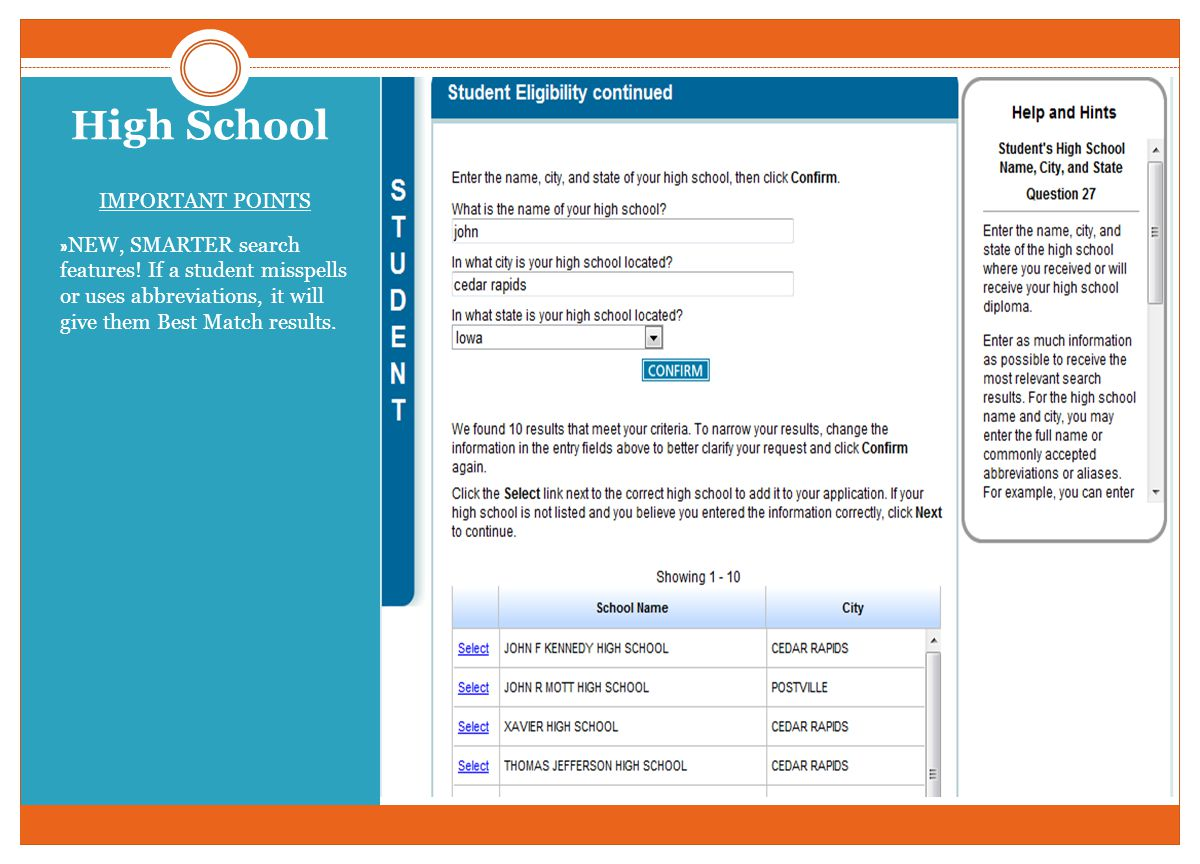 High School IMPORTANT POINTS » NEW, SMARTER search features.