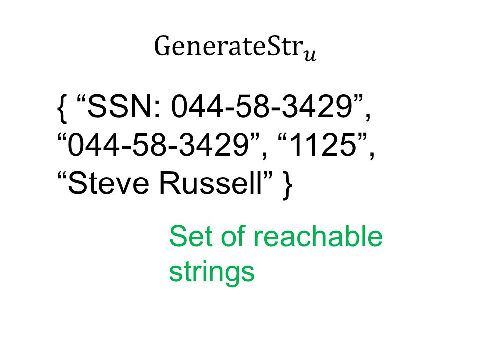 { SSN: 044-58-3429 , 044-58-3429 , 1125 , Steve Russell } Set of reachable strings
