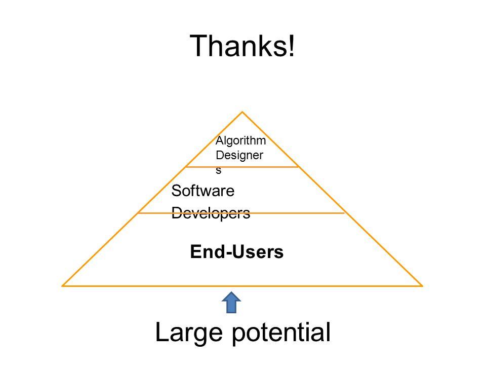 Thanks! End-Users Algorithm Designer s Software Developers Large potential