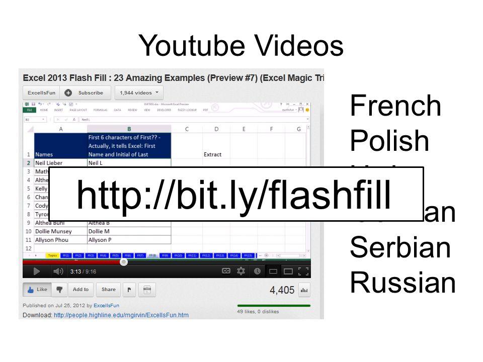 Youtube Videos French Polish Urdu German Serbian Russian http://bit.ly/flashfill