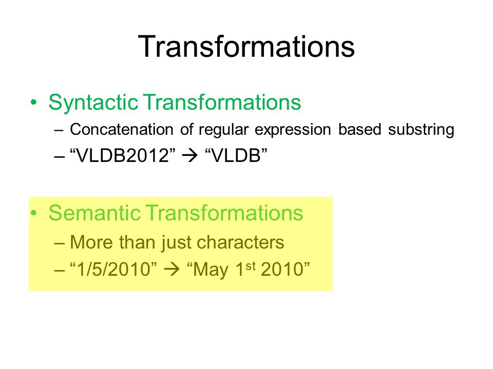 Semantic String Transformations Time (12 Hr)Time (24 Hr) 09309:30 AM 15203:20 PM 1648 0830 1015 2010 1012 1425 =TEXT(C, 00 00 )+0
