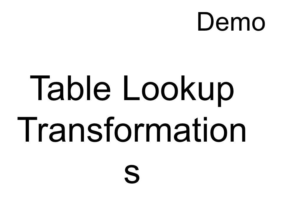 Table Lookup Transformation s Demo