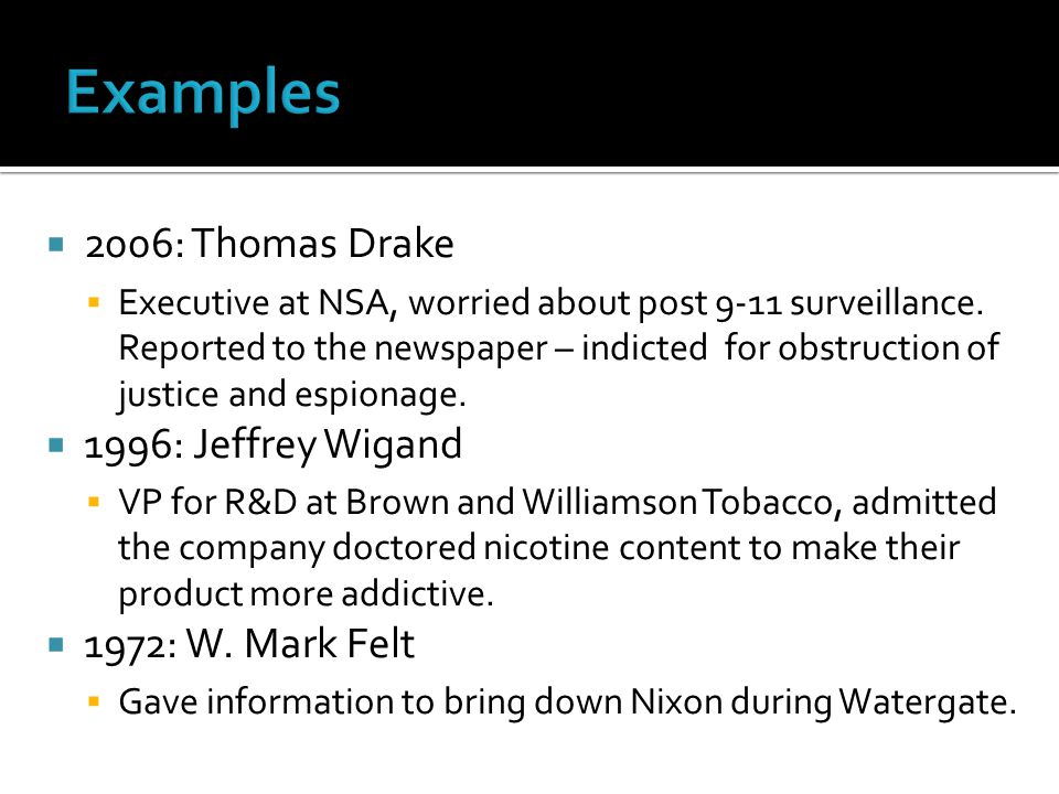  2006: Thomas Drake  Executive at NSA, worried about post 9-11 surveillance.