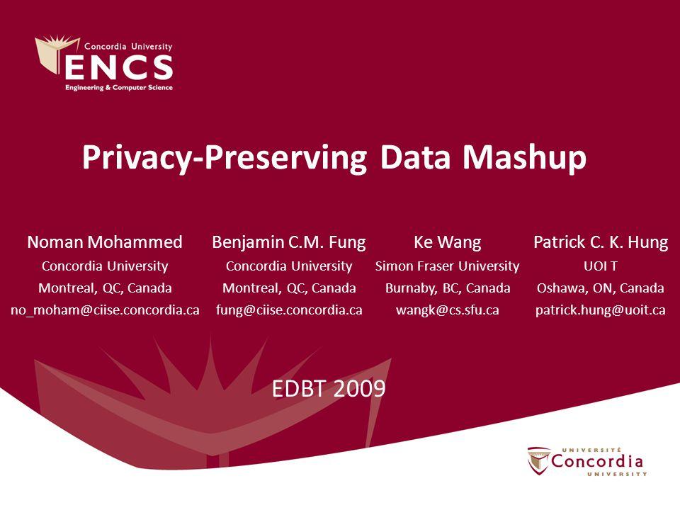 Privacy-Preserving Data Mashup Benjamin C.M.