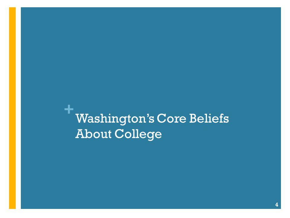 + Washington's Core Beliefs About College 4