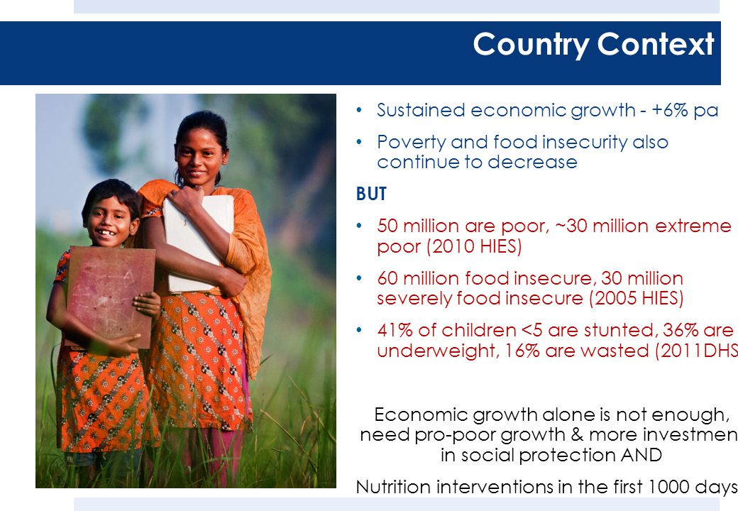 Sustained economic growth - +6% pa Poverty and food insecurity also continue to decrease BUT 50 million are poor, ~30 million extreme poor (2010 HIES) 60 million food insecure, 30 million severely food insecure (2005 HIES) 41% of children <5 are stunted, 36% are underweight, 16% are wasted (2011DHS) Economic growth alone is not enough, need pro-poor growth & more investment in social protection AND Nutrition interventions in the first 1000 days Country Context