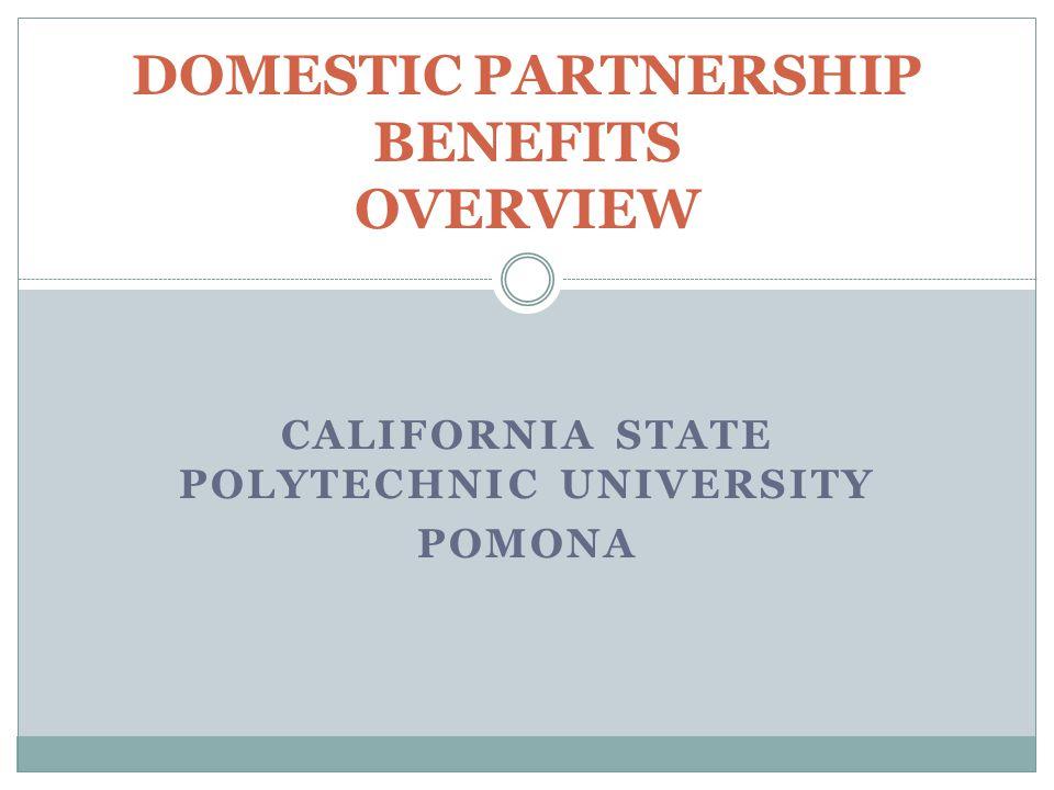 CALIFORNIA STATE POLYTECHNIC UNIVERSITY POMONA DOMESTIC PARTNERSHIP BENEFITS OVERVIEW