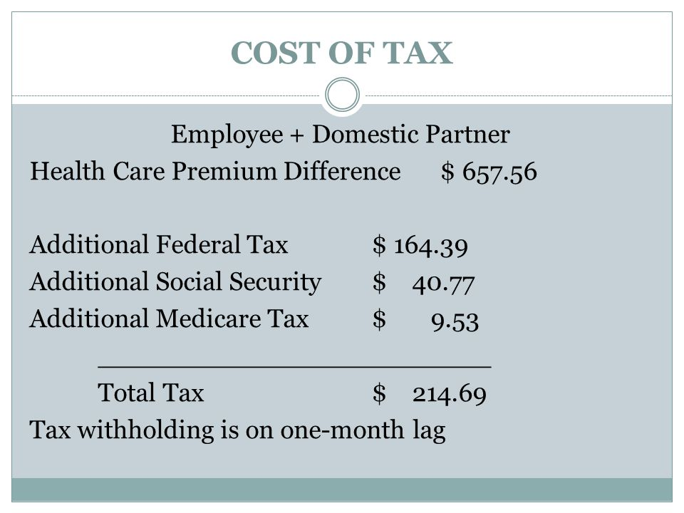 COST OF TAX Employee + Domestic Partner Health Care Premium Difference$ 657.56 Additional Federal Tax$ 164.39 Additional Social Security $ 40.77 Additional Medicare Tax$ 9.53 ________________________ Total Tax$ 214.69 Tax withholding is on one-month lag