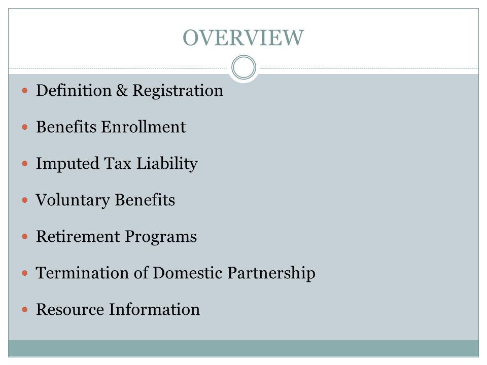 OVERVIEW Definition & Registration Benefits Enrollment Imputed Tax Liability Voluntary Benefits Retirement Programs Termination of Domestic Partnership Resource Information