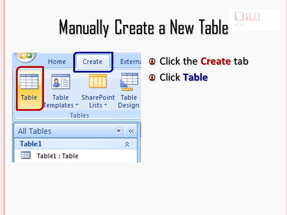 Manually Create a New Table By default the table has two fields ID and Add New Field.