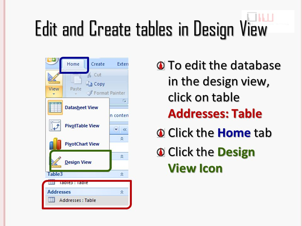 Edit Fields in Design View Field Names are the Column headings in a data base.
