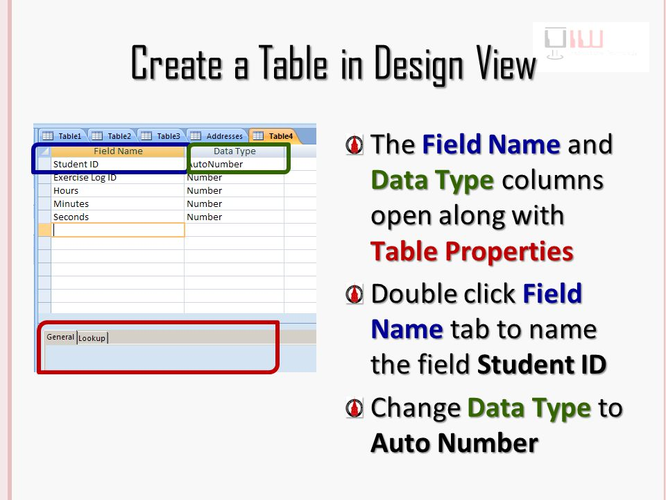 Create a Table in Design View The Field Name and Data Type columns open along with Table Properties Double click Field Name tab to name the field Student ID Change Data Type to Auto Number