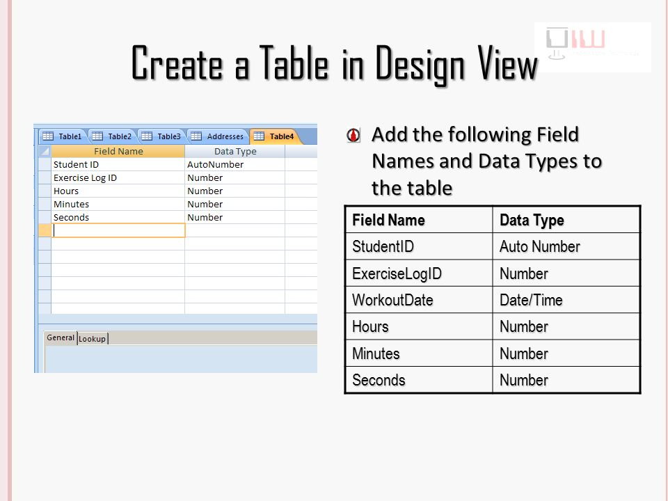 Create a Table in Design View Field Name Data Type StudentID Auto Number ExerciseLogIDNumber WorkoutDateDate/Time HoursNumber MinutesNumber SecondsNumber Add the following Field Names and Data Types to the table