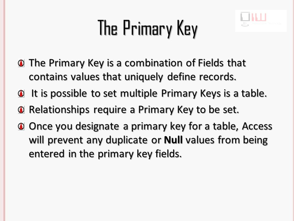 The Primary Key The Primary Key is a combination of Fields that contains values that uniquely define records.